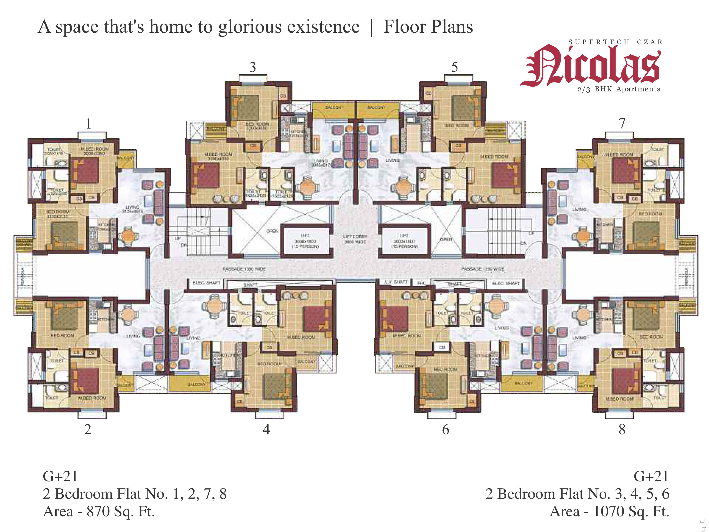 Supertech czar suites greater noida 8010223000 ready for Plan of a flat